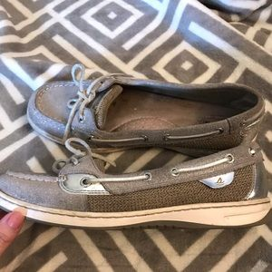 Sparkly silver Sperry